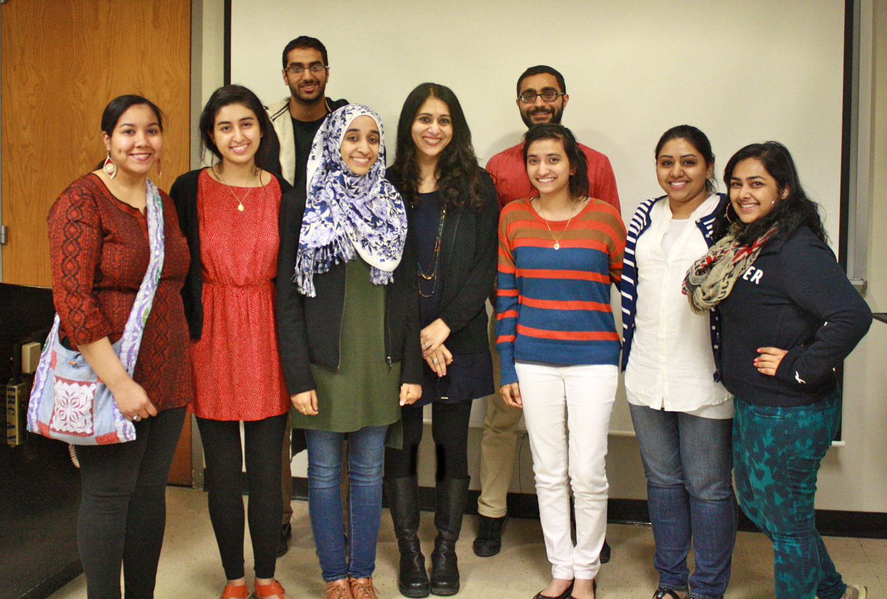 mara ahmed with students at suny geneseo, 2014.