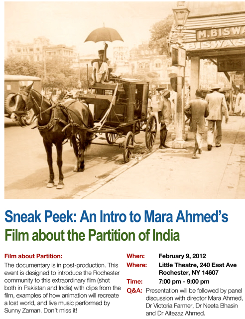 sneak peek: an intro to mara ahmed's film about the partition of india
