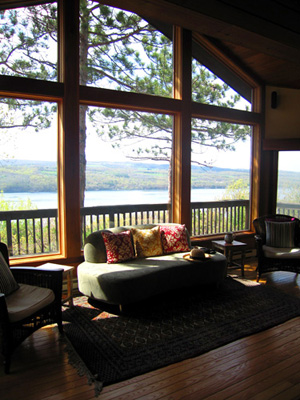family room with view of lake