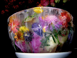 ice bowl with garden flowers