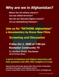 RETHINK Afghanistan, Oct 2 at 7 pm, RCTV