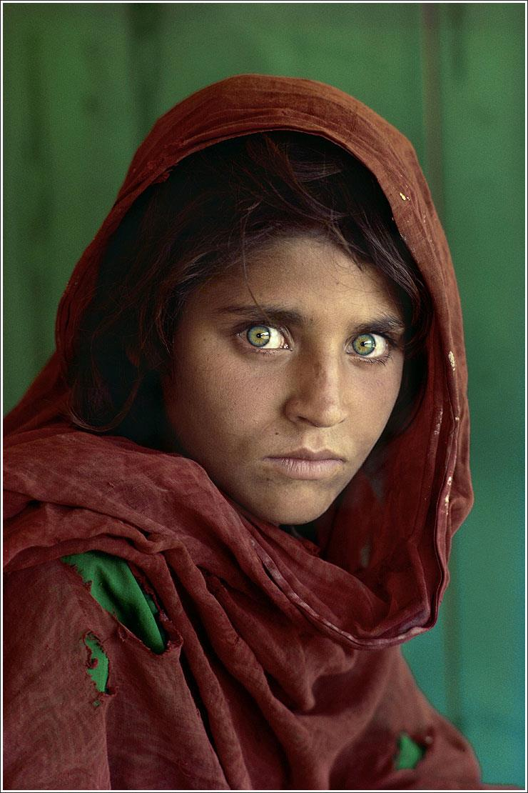Steve McCurry, Sharbat Gula at Nasir Bagh refugee camp in Pakistan, 1985