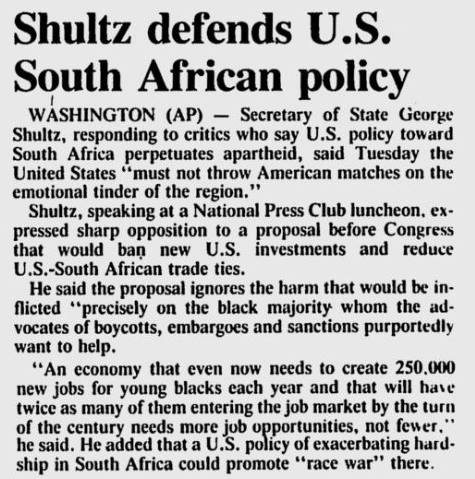 Shultz defends US South African policy