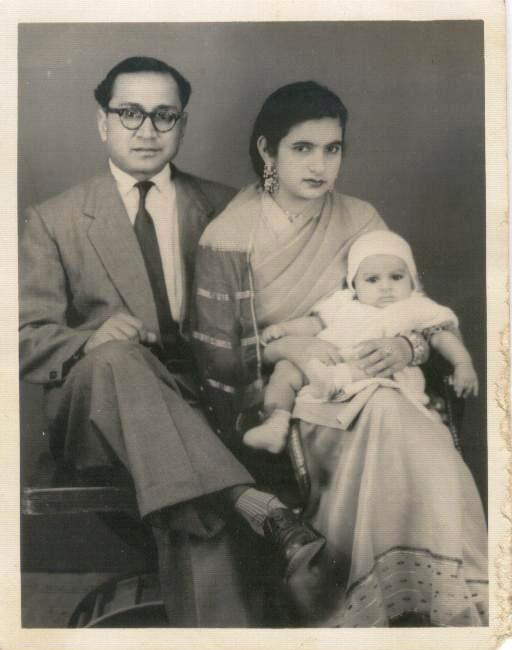 my uncle rafique ahmed qureshi (1921-2014) with his wife anwar qureshi and their firstborn, my cousin nurus sabah qureshi